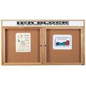 "Aarco 2 Door Oak Enclosed Bulletin Board w/ Header - 72""W x 36""H"
