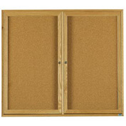 "Aarco 2 Door Oak Enclosed Bulletin Board - 60""W x 48""H"