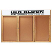 "Aarco 3 Door Oak Enclosed Bulletin Board w/ Header - 96""W x 48""H"