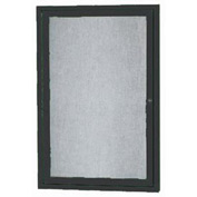 "Aarco 1 Door Alum Framed Illum Enclosed Bulletin Board Black Powder Coat - 18""W x 24""H"