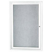 "Aarco 1 Door Aluminum Framed Enclosed Bulletin Board White Powder Coat - 18""W x 24""H"