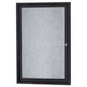 "Aarco 1 Door Aluminum Framed Enclosed Bulletin Board Black Powder Coat - 24""W x 36""H"