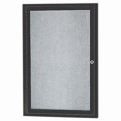 "Aarco 1 Door Alum Framed Illum Enclosed Bulletin Board Bronzed Anod. - 24""W x 36""H"