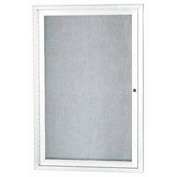 "Aarco 1 Door Aluminum Framed Enclosed Bulletin Board White Powder Coat - 24""W x 36""H"