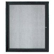 "Aarco 1 Door Aluminum Framed Enclosed Bulletin Board Black Powder Coat - 30""W x 36""H"