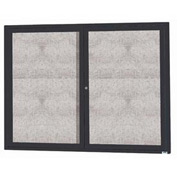 "Aarco 2 Door Aluminum Framed Enclosed Bulletin Board Black Powder Coat - 48""W x 36""H"