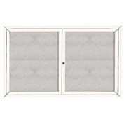"Aarco 2 Door Aluminum Framed Enclosed Bulletin Board White Powder Coat - 60""W x 36""H"