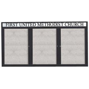 "Aarco 3 Door Enclosed Alum Framed Bulletin Board w/ Header, Illum Black - 72""W x 36""H"