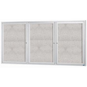 "Aarco 3 Door Alum Framed Illum Enclosed Bulletin Board - 72""W x 36""H"