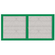 "Aarco 2 Door Aluminum Framed Enclosed Bulletin Board Green Powder Coat - 72""W x 36""H"