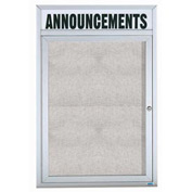 "Aarco 1 Door Enclosed Aluminum Framed Bulletin Board w/ Header - 36""W x 48""H"