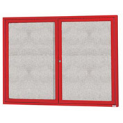 "Aarco 2 Door Alum Framed Illum Enclosed Bulletin Board Red Powder Coat - 60""W x 48""H"