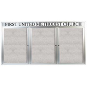 "Aarco 3 Door Enclosed Alum Framed Bulletin Board w/ Header, Illuminated - 96""W x 48""H"