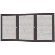 "Aarco 3 Door Alum Framed Illum Enclosed Bulletin Board Bronzed Anod. - 96""W x 48""H"