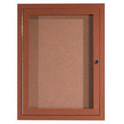 "Aarco 1 Door Aluminum Frame Wood Look, Oak Enclosed Bulletin Board - 24""W x 36""H"
