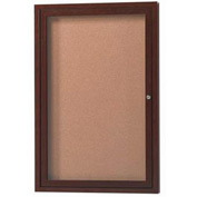 "Aarco 1 Door Aluminum Frame Wood Look, Walnut Enclosed Bulletin Board - 18""W x 24""H"