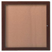 "Aarco 1 Door Aluminum Frame Wood Look, Walnut Enclosed Bulletin Board - 36""W x 36""H"