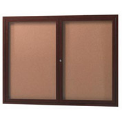 "Aarco 2 Door Aluminum Frame Wood Look, Walnut Enclosed Bulletin Board - 48""W x 36""H"