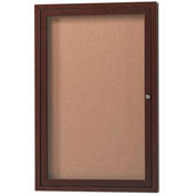 "Aarco 1 Door Aluminum Frame Wood Look, Walnut Enclosed Bulletin Board - 36""W x 48""H"