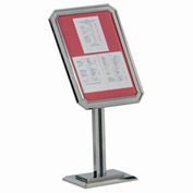 "Aarco Single Pedestal Ornamental Sign And Poster Stand Chrome - 23""W x 49""H"