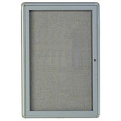 "Aarco 1 Door Design Enclosed Bulletin Board Medium Grey - 24""W x 36""H"