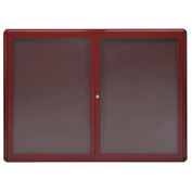 "Aarco 2 Door Design Enclosed Bulletin Board Burgundy - 48""W x 36""H"