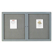 "Aarco 2 Door Design Enclosed Bulletin Board Medium Grey - 60""W x 36""H"