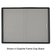 "Aarco 2 Door Radius Design Bulletin Board w/ Tempered Glass Medium Grey - 60""W x 36""H"