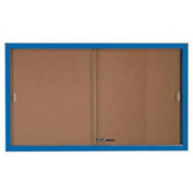 "Aarco 2 Door Aluminum Framed Bulletin Boards w/ Sliding Door Blue Pc - 60""W x 36""H"