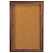 "Aarco 1 Door Walnut Enclosed Bulletin Board - 24""W x 36""H"