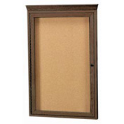 "Aarco 1 Door Red Walnut Bulletin Board w/ Crown Molding - 24""W x 36""H"