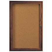 "Aarco 1 Door Walnut Enclosed Bulletin Board - 36""W x 48""H"