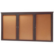 "Aarco 3 Door Red Walnut Bulletin Board w/ Crown Molding - 96""W x 48""H"