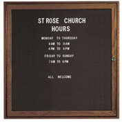 "Aarco 1 Door Walnut Enclosed Changeable Letter Board - 36""W x 36""H"