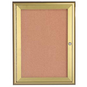 "Aarco 1 Door Water Fall Style Bulletin Board Gold - 18""W x 24""H"
