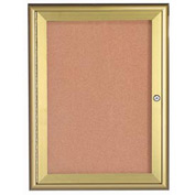 "Aarco 1 Door Water Fall Style Bulletin Board Gold - 24""W x 36""H"