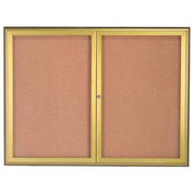 "Aarco 2 Door Water Fall Style Bulletin Board Gold - 36""W x 48""H"