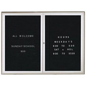 "Aarco 2 Door Water Fall Style Letter Board Silver - 36""W x 48""H"