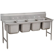 Regaline Sink, 4 Compartment, 20L x 28W Bowl, 8H Splash, 97L x 42H Overall,16 Ga.