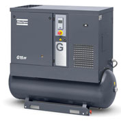 Atlas Copco G15, 20 HP, Rotary Screw Compressor, 71 Gal, Horizontal, 125 PSIG, 3-Phase 208-230/460V