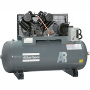 Atlas Copco AR-10, 10 HP, Two-Stage Piston Compressor, 120 Gal, Horizontal,175 PSIG,3-Phase 208-230V