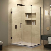 "Dreamline SHEN-24495340-06 Unidoor Plus Hinged Shower Enclosure, Bronze, 49-1/2"" x 34-3/8"" x 72"""
