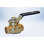 American Valve 1-1/4 In. Lead-Free Brass Full Port Ball Valve - Solder Ends - Pkg Qty 12