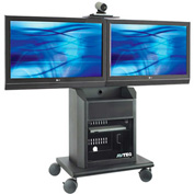 AVTEQ RPS-800L Mid-Level Videoconferencing Cart, Steel, Black