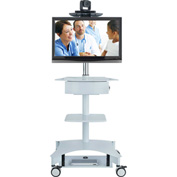 "AVTEQ TMP-200 Telemedicine Cart, Single Monitor, Steel, 61""H x 29""W x 24""D, White"
