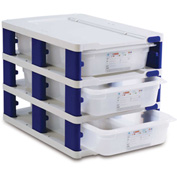 Araven 18227 - Food Storage Container Tower, PP, Holds (3) 1/1 Size Containers, White & Blue