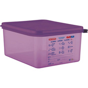 Araven 61391 Food Container, Anti-Allergen, W/Lid, Polypropylene, 10.5 Qt., 1/2 Size, Purple Package Count 6