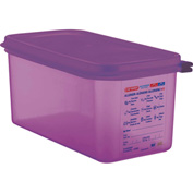 Araven 61393 Food Container, Anti-Allergen, W/Lid, Polypropylene, 6.3 Qt., 1/3 Size, Purple Package Count 6