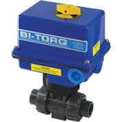 "BI-TORQ 1/2"" 3-Way PVC Ball Valve W/ NEMA 4 115VAC/4-20mA Positioner"