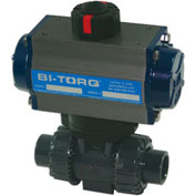 "BI-TORQ 3/4"" 3-Way PVC Ball Valve W/Dbl. Acting Pneum. Actuator"